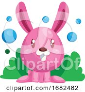 Poster, Art Print Of Pink Easter Rabbit Sitting In Green Grass Illustration Web On White Background