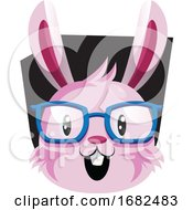 Poster, Art Print Of Happy Face Of Pink Easter Bunny With Eyeglasses Illustration Web On White Background