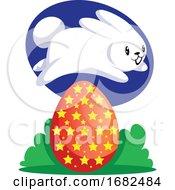Poster, Art Print Of White Easter Rabbit Jumping Over Red Egg Illustration Web On White Background