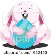 Poster, Art Print Of Rosy Easter Bunny Hugging Blue Egg Illustration Web On White Background
