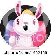 Poster, Art Print Of Bunny In Front Of Colorful Easter Eggs Illustration Web On White Background