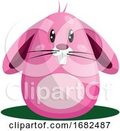 Poster, Art Print Of Easter Rabbit With Big Eyes And Whiskers In Pink Illustration Web On White Background