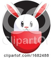 Poster, Art Print Of White Easter Rabbit Face In Front Black Circle Illustration Web On White Background