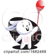 Poster, Art Print Of White Easter Rabbit Holding Red Balloon Illustration Web On White Background