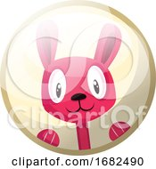 Poster, Art Print Of Cartoon Character Of A Pink Rabbit Smiling Illustration In Light Yellow Circle On White Background
