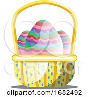 Basket Full Of Colorful Easter Eggs With Pattern On White Background