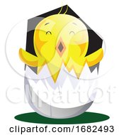 Easter Chick Hatching From Egg Shell Illustrated Web On White Background