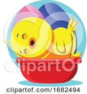 Poster, Art Print Of Easter Yellow Chick Sleeping Illustrated Web On White Background