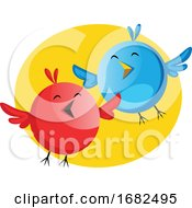 Poster, Art Print Of Funny Blue And Red Bird Singing Easter Song Illustration Web On White Background