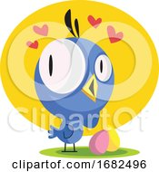 Poster, Art Print Of Little Blue Bird Looking At Easter Eggs Sharing Love Illustration Web On White Background