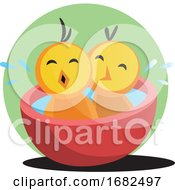 Poster, Art Print Of Two Cute Yellow Chick Bathing Illustration Web On White Background