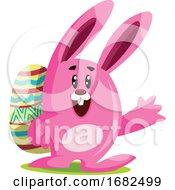 Poster, Art Print Of Pink Easter Bunny With Big Ears Carry An Egg And Waving Illustration Web On White Background