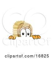 Clipart Picture Of A Scrub Brush Mascot Cartoon Character Peeking Over A Surface