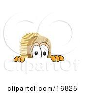 Scrub Brush Mascot Cartoon Character Peeking Over A Surface