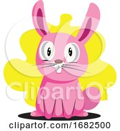 Poster, Art Print Of Funny Pink Easter Bunny With Big Teeth Illustration Web On White Background