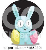 Poster, Art Print Of Blue Bunny With Blue And Pink Egg In Front Of Black Circle Illustration Web On White Background