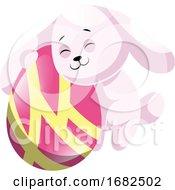 Poster, Art Print Of Rosy Easter Rabbit Hugging Pink Easter Egg Illustration Web On White Background