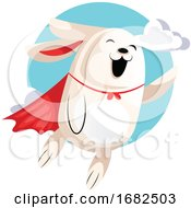 Superhero Easter Bunny Flying In Clouds Illustration Web On White Background