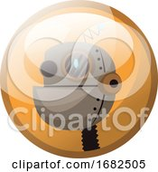 Cartoon Character Of Light Brown Retro Robot