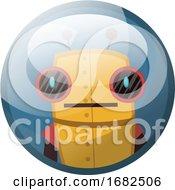 Cartoon Character Of Yellow Retro Robot With Big Black Eyes