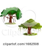 Couple Of Green Trees Illustration