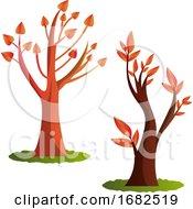 Poster, Art Print Of Two Autumn Tree Illustration