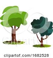 WebCouple Of Green Trees Illustration