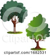 Poster, Art Print Of Couple Of Green Trees Illustration