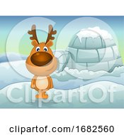 Reindeer In Winter Illustration