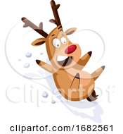 Happy Christmas Deer Sliding On The Snow