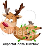 Christmas Deer Stuck In Green Decorative Lamps