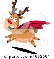 Crazy Christmas Deer With Red Cape