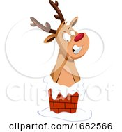 Christmas Deer Stuck In The Chimney
