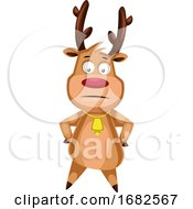 Poster, Art Print Of Confused Christmas Deer With Gold Bell On The Neck