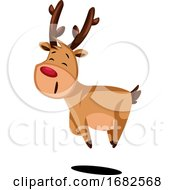 Joyful Christmas Deer Jumping Around