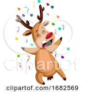 Cheerful Christmas Deer Throwing Confetti