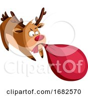 Christmas Deer Pulling Heavy Bag With Presents