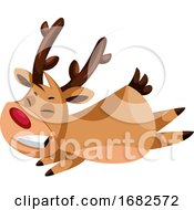 Smiling Christmas Deer Flying Around