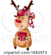 Poster, Art Print Of Christmas Deer With Red Hat And Mug With Tea