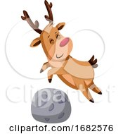 Christmas Deer Jumping Over A Rock