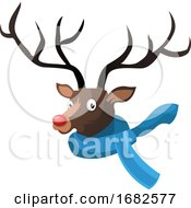 Christmas Deer With Blue Scarf