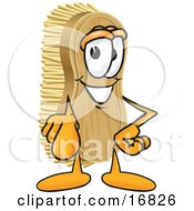 Clipart Picture Of A Scrub Brush Mascot Cartoon Character Pointing Outwards At The Viewer