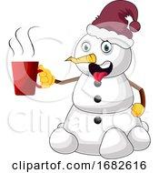 Poster, Art Print Of Snowman With Hot Tea