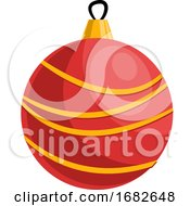 Poster, Art Print Of Red And Yellow Christmas Decoration Ball