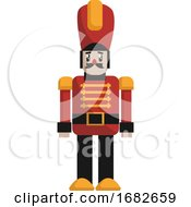 Simple Christmas Nut Cracker In Red And Black Suit