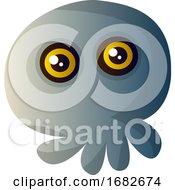 Little Cartoon Grey Skull Illustartion
