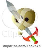 Cartoon Skull With Big Sword Illustartion