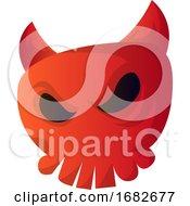 Cartoon Red Devil Skull Illustartion
