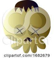 Cartoon Skull With Brow Hair Illustration