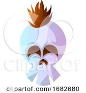 Cartoon White Skull With Brow Hair Illustration